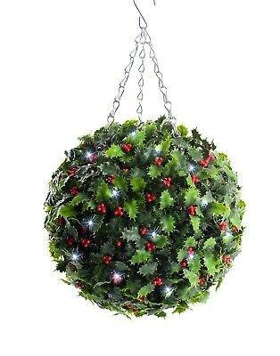 Best Artificial Pre-Lit 28cm Christmas Holly Topiary Balls with White LED Lights