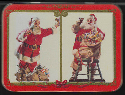 Coca-Cola Double Deck of Playing Cards in Metal Tin 1994 Santa Claus motifs
