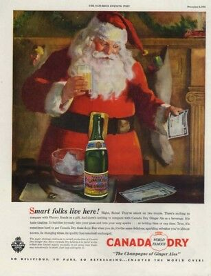 Smart Folks live Here! Santa Claus for Canada Dry Ginger Ale ad 1945 SEP