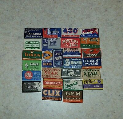 Lot of 26 Different Vintage Single Edge Safety Razor Blades Made in the USA