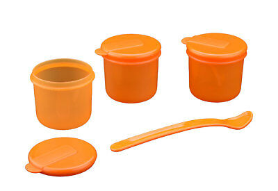 Pack of 3 Baby Toddler Food Storage Pots Lids & Weaning Spoon Dishwasher Safe