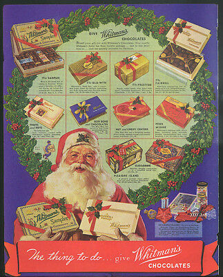 The thing to do give Whitman's Chocolates for Christmas Santa Claus ad 1936