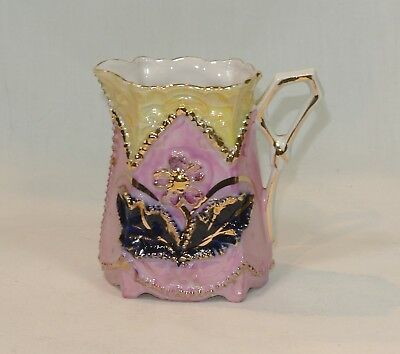 Antique GERMAN Porcelain Pink LUSTREWARE Creamer Cream Pitcher