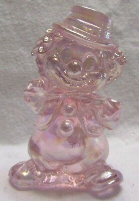 MOSSER GLASS FIDDLER CLOWN PINK CARNIVAL (Dappy)