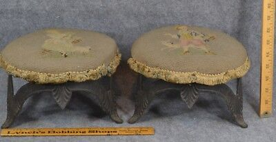 foot stool cricket pair cast iron matching Victorian antique original