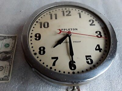 """vintage APPLETON EXPLOSION PROOF 10"""" dia WALL CLOCK Steampunk Industrial Factory"""