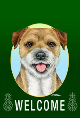 Large Indoor/Outdoor Welcome Flag (Green) - Border Terrier 74122