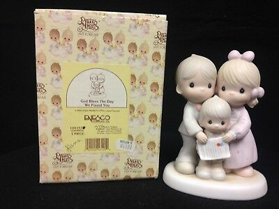 """Precious Moments # 100153 """"God Bless The Day We Found You"""" Figurine INV PA1385"""