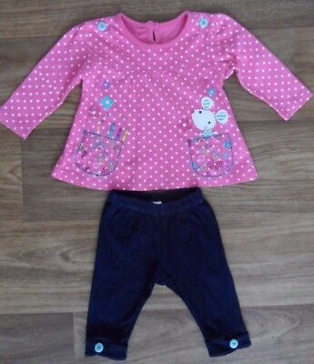 Cotton 2 Piece Set-Top & Trousers For Baby Girl 3-6 M Pink&navy ,long Sleeve