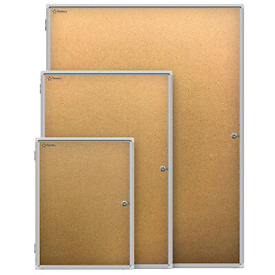 Thornton's Aluminum Wall Mount Enclosed Cork Bulletin Board (Choice of Size)