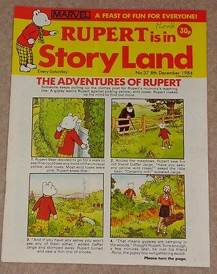 RUPERT BEAR COMIC RUPERT IS IN STORYLAND NO. 37 DATED 8th DECEMBER 1984