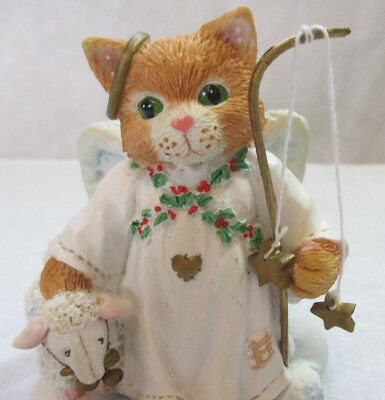 "Calico Kittens by Enesco ""Peace on Earth"" Christmas Shepherd Kitten w/ Lamb EXC"
