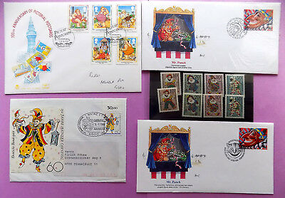Mr PUNCH + PUNCH & JUDY FDC's/STAMPS COLLECTION ~ POLICHINELLE 1988/90/91/94