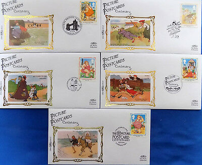 PICTURE POSTCARDS CENTENARY 1994 BENHAM SILK LIMITED EDITION ~ SET of 5 FDC's