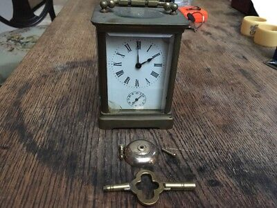 19c Antique French 8 Day Brass Carriage Alarm Clock Unrestored But Working Order