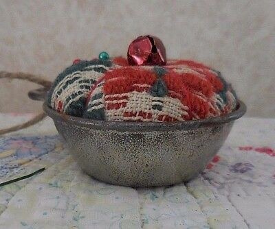 Handmade VTG Red/white Coverlet Pin Cushion Old Measure Cup Primitive Pin Keep