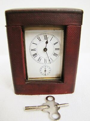 Antique French Carriage Alarm Clock w/ Case