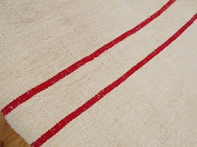 Vtg Antique RED STRIPE HEMP LINEN FEED SACK GRAIN BAG King Pillowcase 38x21