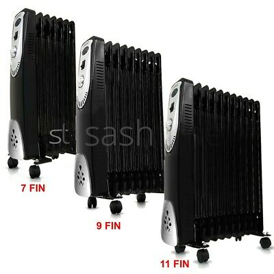 New 7/9/11 Fin Portable Electric Oil Filled Radiator Heater W 3 Heat Home Office
