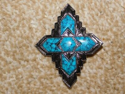 SARAH COVENTRY SILVER TONE & FAUX TURQUOISE INCA BROOCH c1970's
