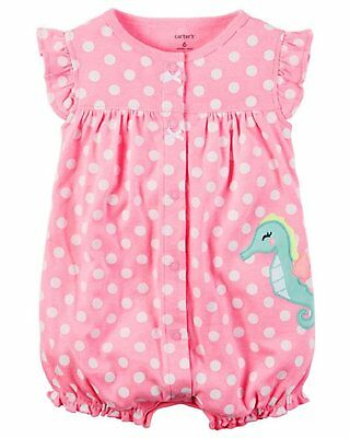 Carters Baby Girls Size 12 Months Sleeveless Seahorse Romper, Pink/White
