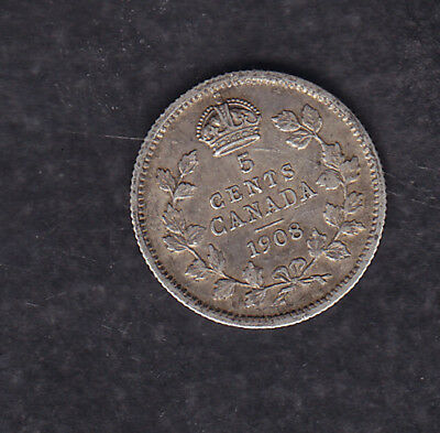 1908 Canada Silver 5 Cents