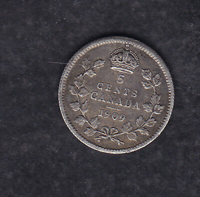 1909 Ml Canada Silver 5 Cents