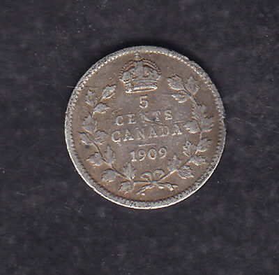 1909 Hl Canada Silver 5 Cents