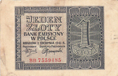 1 Zloty Vf-Fine Banknote From German Occupied Poland 1941!pick-99!!