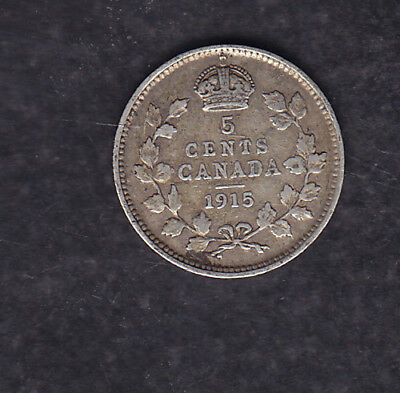 1915 Canada Silver 5 Cents