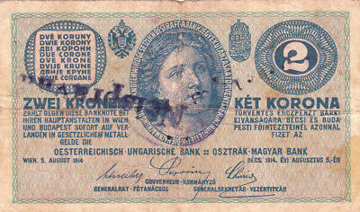 2 Krone Banknote 1919! With Illegal Stamp From Kingdom Of Serbs,croats Slovenes