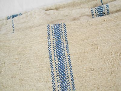 Vtg Antique BLUE STRIPE European HEMP LINEN Fabric FEED SACK GRAIN BAG 19X46