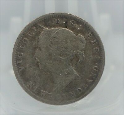 1890 Newfoundland Canadian Canada 5 Cents Silver Coin 5c -You Grade It Z33