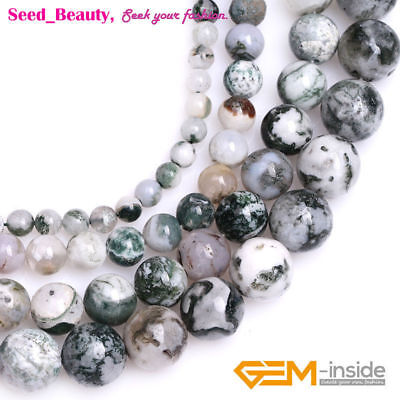 """Round Stone Natural Green Moss Tree Agate Beads for Jewelry Making Strand 15"""""""
