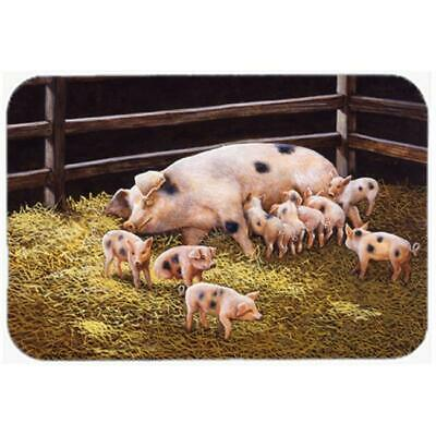 Carolines Treasures Pigs Piglets at Dinner Time Glass Large Cutting Board
