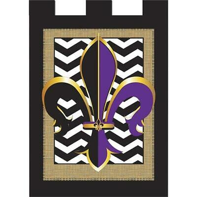 Jozie B 804 Burlap Two Colored Fleur De Lis Flag, Large