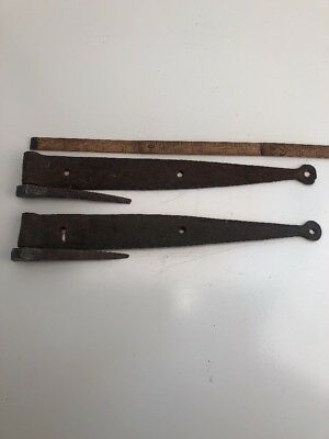 """Antique Forge Iron Early Primitive Pair Of Strap Hinges 15"""" With Hige Pintles"""