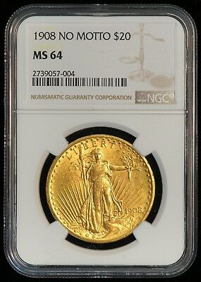 1908 NO MOTTO $20 US St Gaudens Double Eagle Gold Coin (NGC MS 64 MS64) 08440
