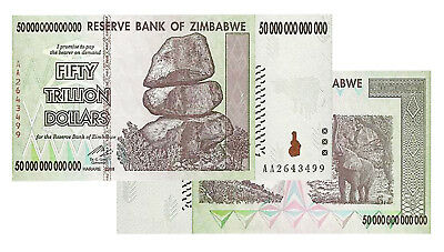 50 Trillion Zimbabwe Banknotes 2008 AA Series CIRCULATED