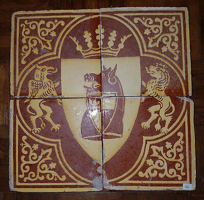 4x Rare 1840s Pugin Gothic Revival Heraldic Tiles by Chamberlain & Co. Worcester