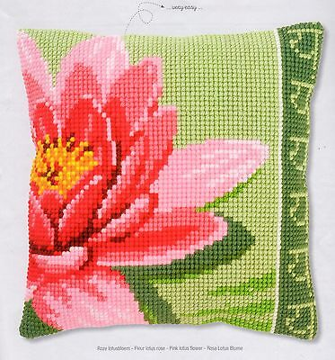 Pink Lotus Flower Tapestry Canvas Cross Stitch Cushion Front Kit Vervaco