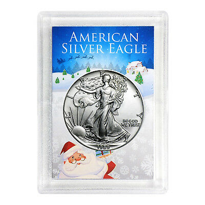 1989 $1 American Silver Eagle HE Harris Holder - Santa Design