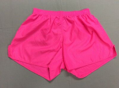 Vtg 80S Soffe Bright Neon Pink Athletic Lite Nylon Jogging Running Shorts Large