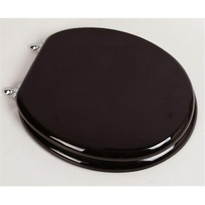 Designer Solid Round Oak Wood Toilet Seat, Dark Brown Oak with Chrome Hinges