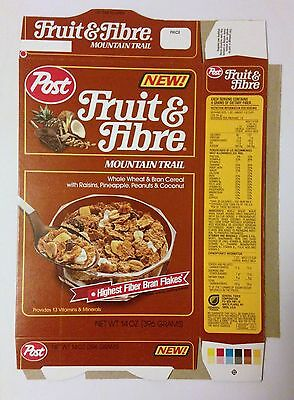 """Vintage 1986 Post """"NEW"""" Fruit & Fibre Mountain Trail Cereal Box,Unused Flat"""