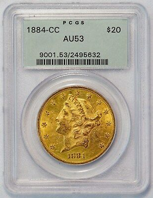 1884 CC $20 Liberty Head Gold Double Eagle Coin (PCGS AU 53) Old Green Holder