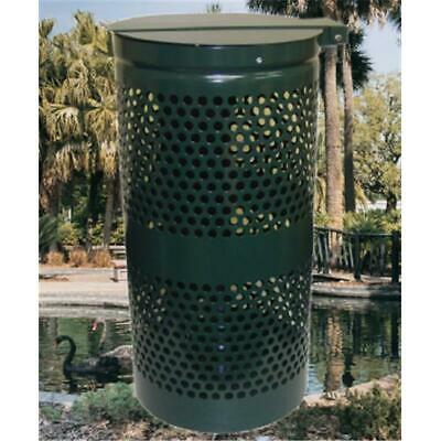 Dogipot 1206-L Steel Trash Can with Lid Forest Green