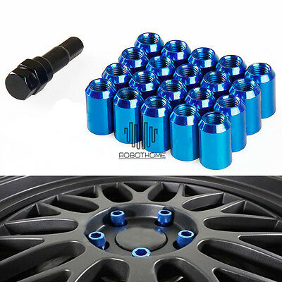 20* Blue M12×1.5mm Lug Nuts Extended Racing Wheel Rim With Lock for Honda Civic