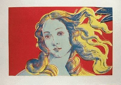 Andy Warhol Lithograph Birth Of Venus Red Limited With Stamp 1990's