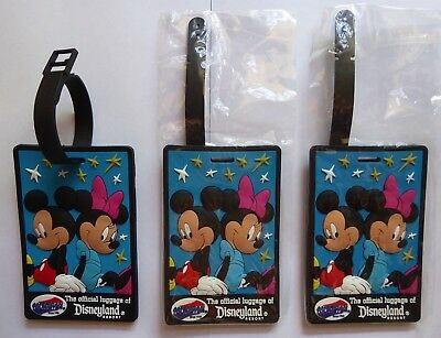 Disney Disneyland American Tourister Mickey Minnie Mouse Luggage Tags Lot Of 3